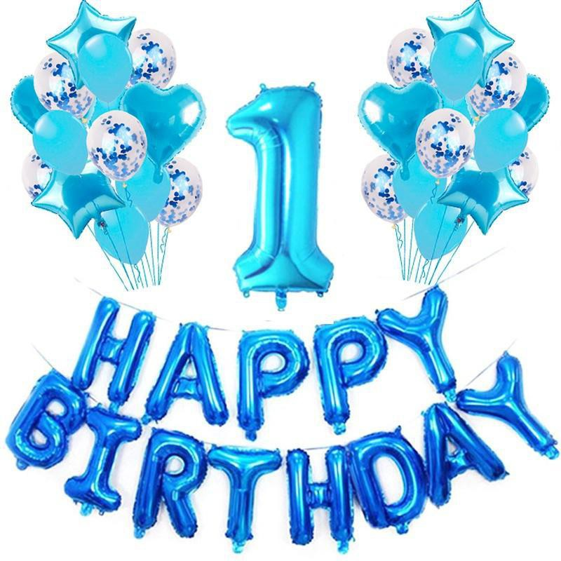 """16/"""" Large 1st Birthday Number 1 Boy Girl Foil Balloons Baby Pink Blue Gold Silve"""