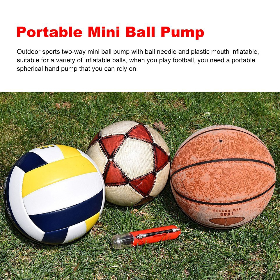 3pcs Plastic Football Soccer Inflatable Ball Hand Air Pump with Needle Blue