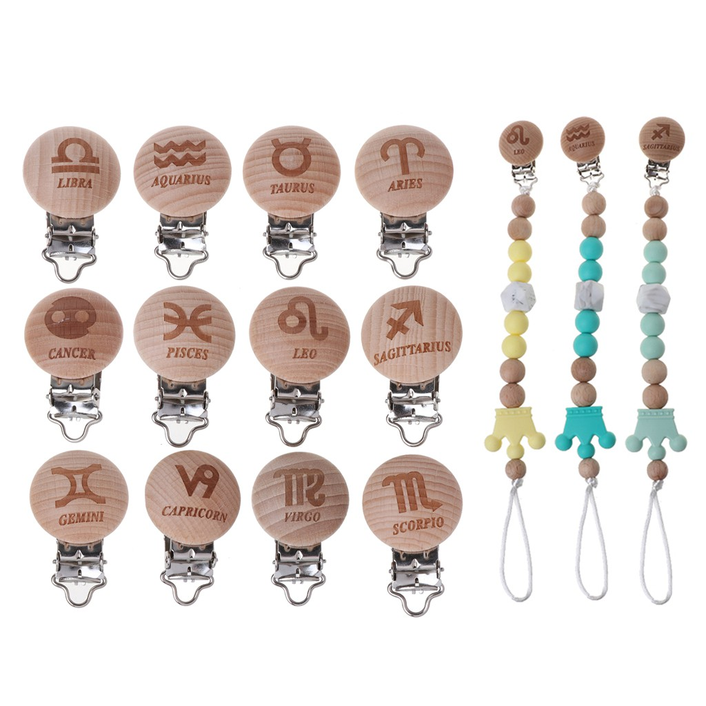 12 Twelve Constellations Pacifier Clip Zodiac Beech Wood Dummy Clips For Baby