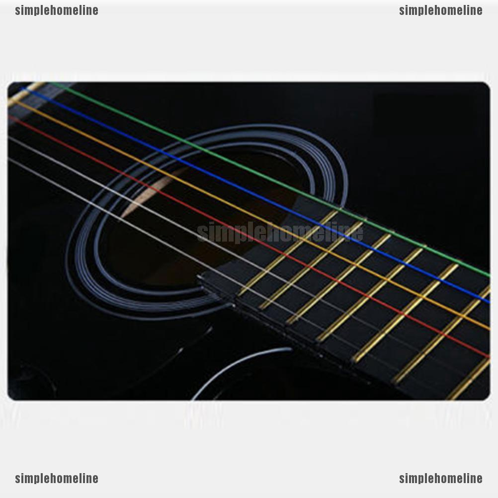 6pcs//set Fashion Steel Rainbow Colorful Color Strings Guitar For Acoustic L0T9