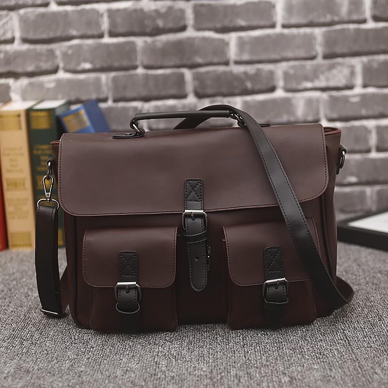 c8ad75272712 RUNWEBOER Men Business Leather Messenger Bag