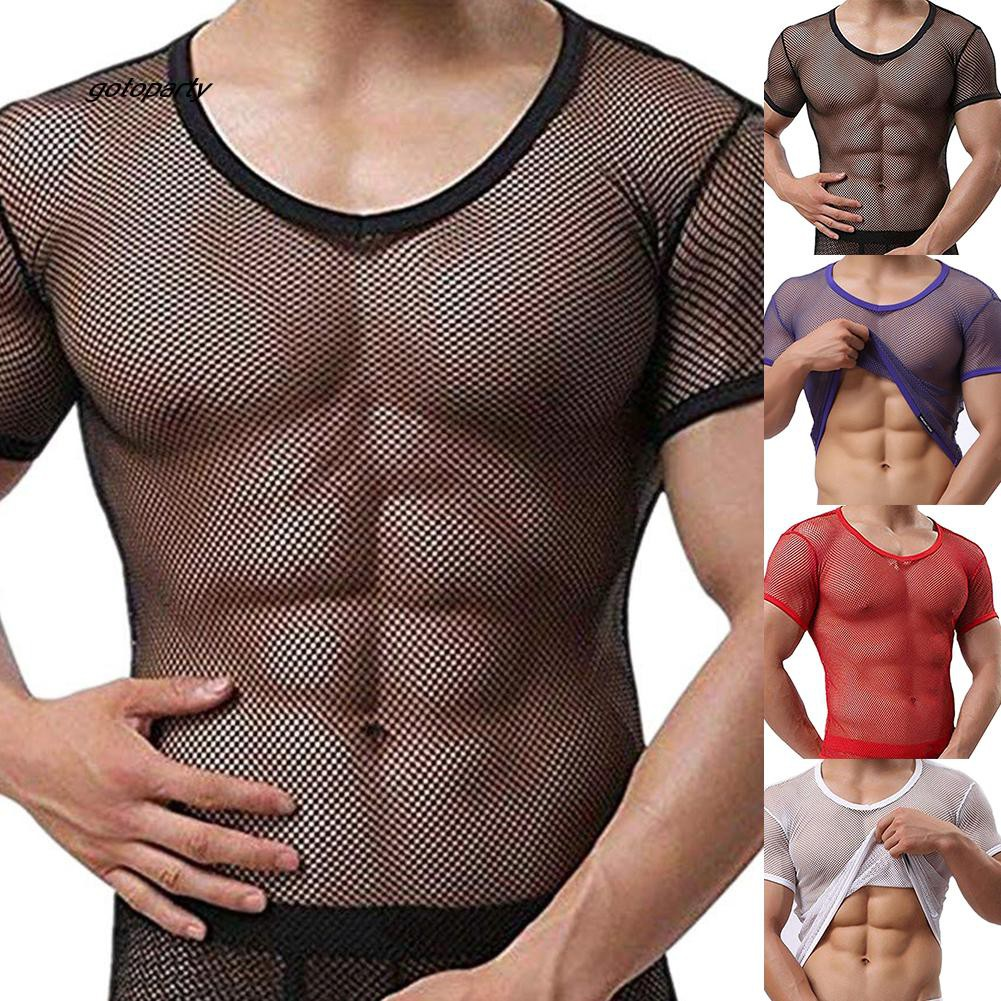 Men/'s Leather Fishnet See Through Top T-Shirt Muscle Tank Top Clubwear Hoodies
