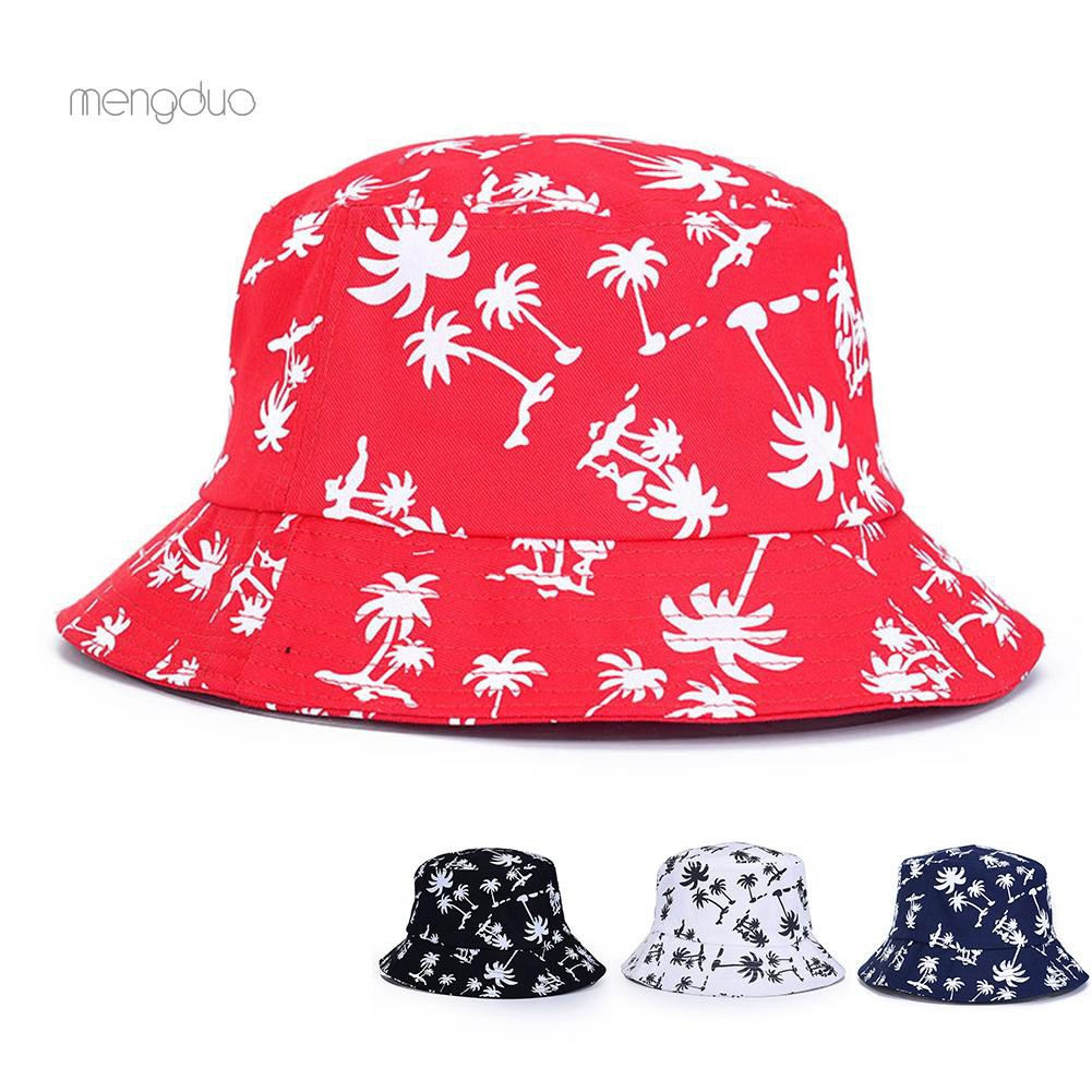 ccd5bfae3 ▷Meng◁Women Summer Holiday Sun Beach Coconut Tree Pattern Wide Brim Bucket  Hat Cap