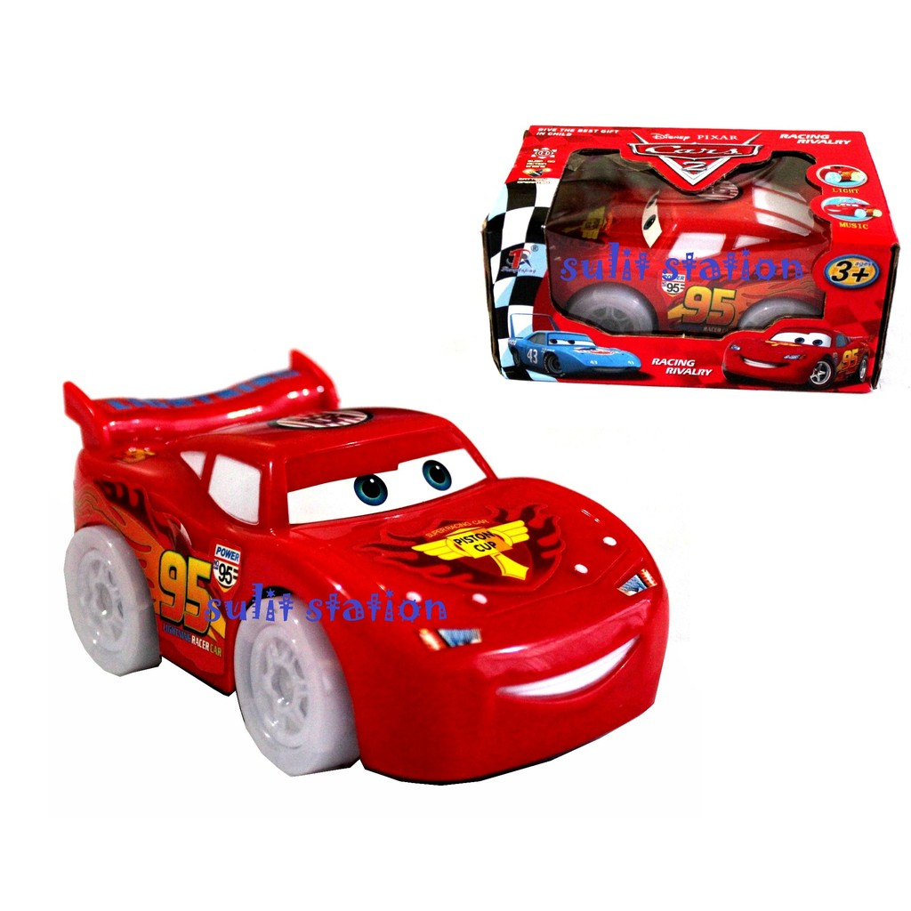 Pixar Cars Lightning Mcqueen Battery Operated Bump N Go Toy Car Toys Cars Figures Cake Topper Shopee Philippines