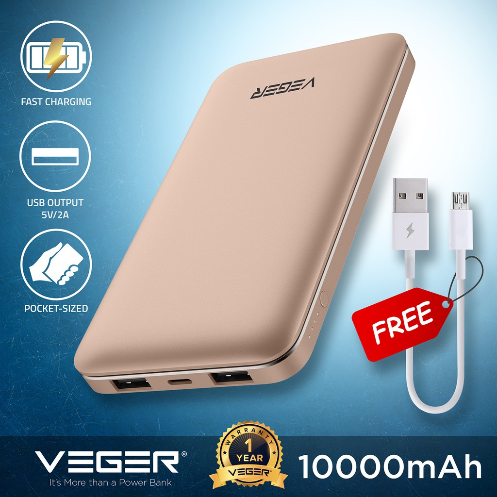 VEGER Powerbank 10000mAh Fast Charge Metallic External Battery Slim Fast  Portable Charge VP1015