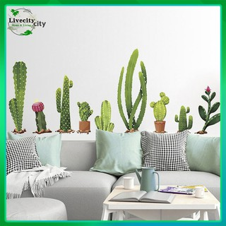 Cartoon Cactus Green Plants Leaves Pastoral Style Wall Stickers Wall Decal Vinyl Removable Art Wall Decals for Bedroom Living Room Nursery Room Childrens Bedroom