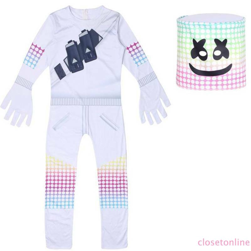 Trousers Jumpsuit Mask Outfit Kids Boy Girl Marshmello Costume  Cosplay Hooded