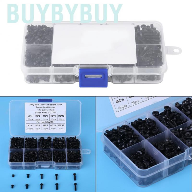 M3 Hex Screw Kit Black Hex Spacer Screw Standoff Assortment Alloy Steel Flat Head Hex Screws Bolts M34//6//8//10//12 720pcs for Furniture and Other Machinery Industry