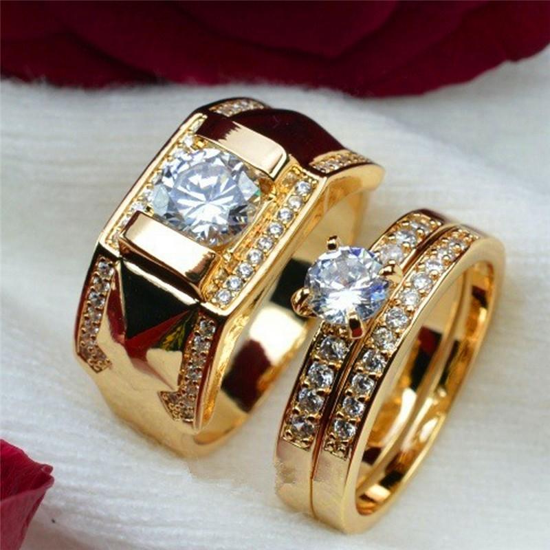 Tm Men Women Couple Ring 18k Gold Color Filled Menmade Diamond