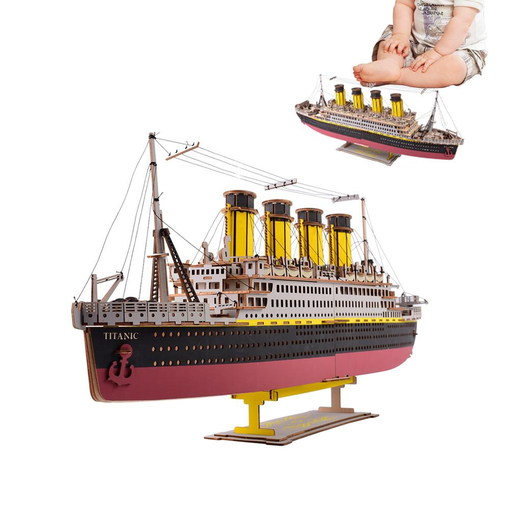 d7fadc6d Puzzle Toys Assembly Wooden Titanic Kid Jigsaw Kit 3D Blocks