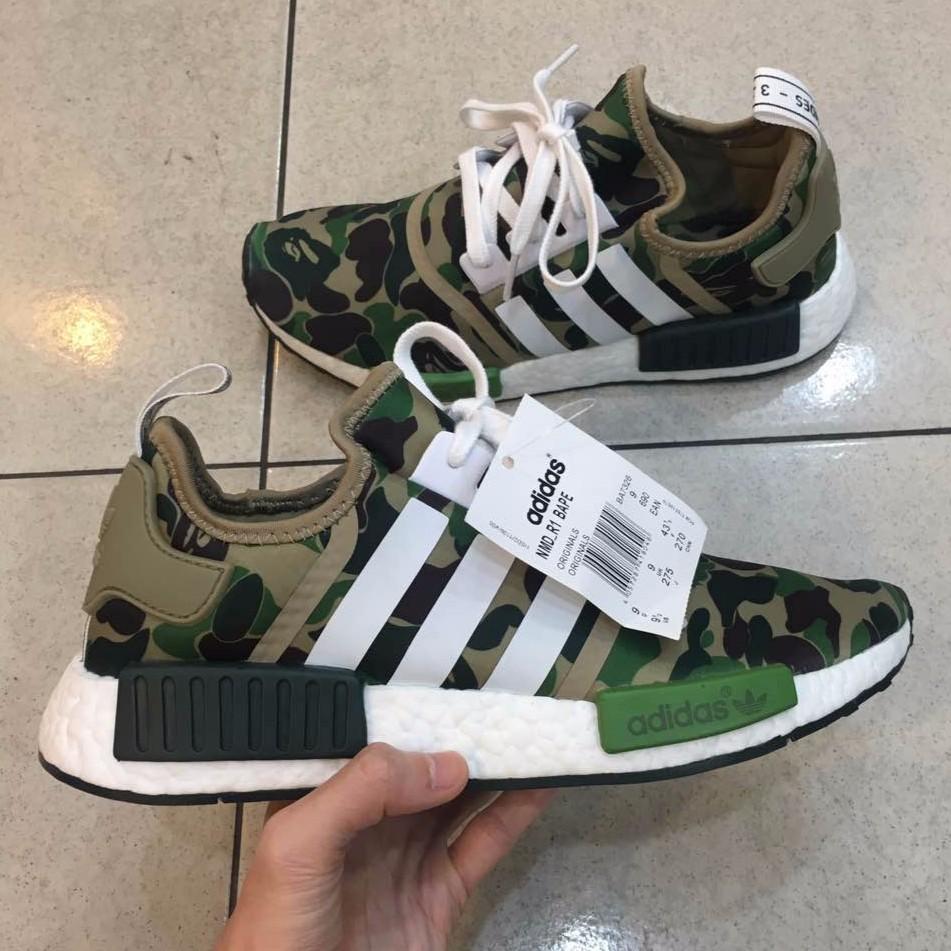 sale retailer 09e18 fdf1a A BATHING APE x ADIDAS BOOST NMD R1 CAMO BAPE Sports Shoes
