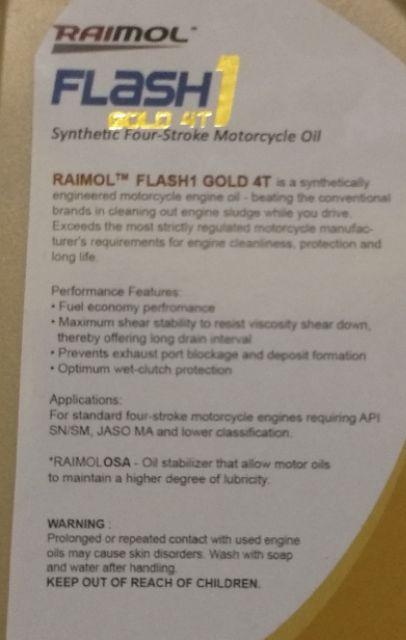 Raimol Flash 1 Gold 4T Synthetic Motor Oil 1L | Shopee