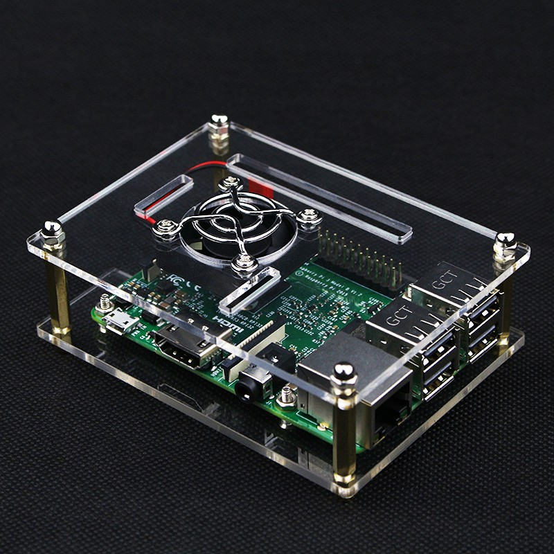 official case for Raspberry pi 3 Model B and B+ Acrylic Case with Cooling Fan