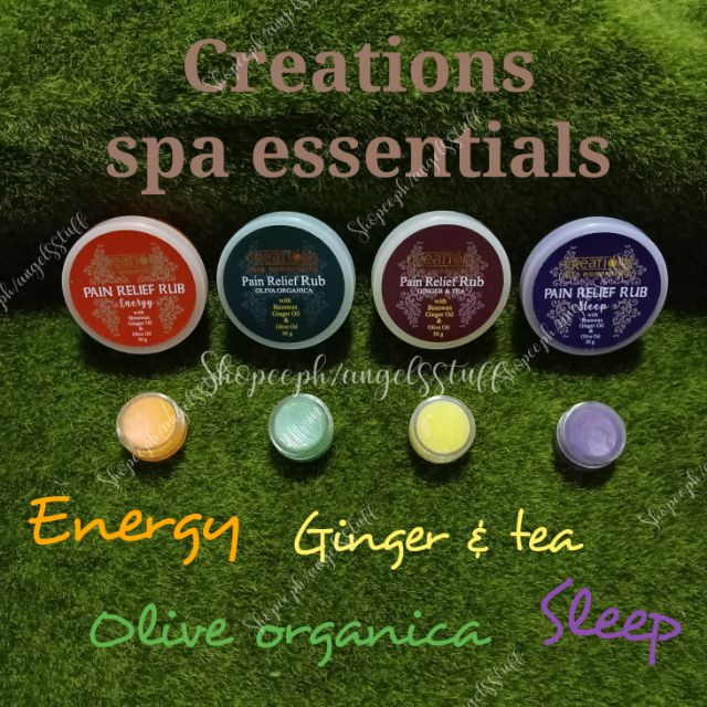 Creations spa essentials pain relief rub 5g trial pack travel size and 50g full size Authentic