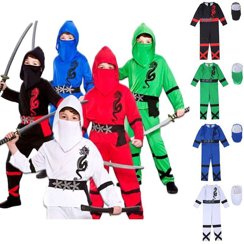 Boys Power Ninja Costume Martial Arts Japanese Samurai Warrior Fancy Dress
