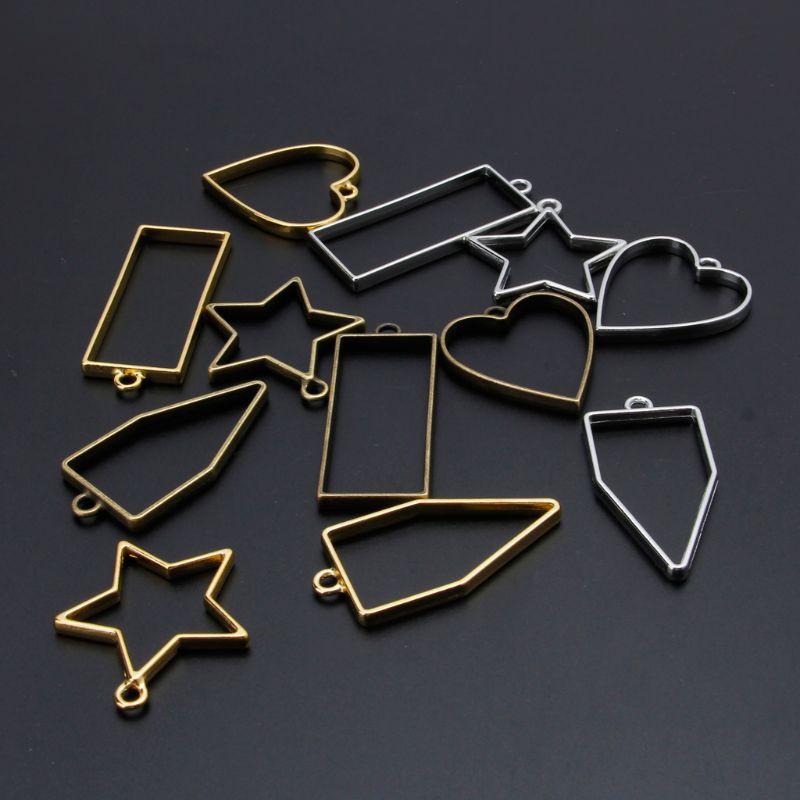 2Pcs Bowtie Wing Heart Resin Blank Frame Pendant Open Bezel Resin Jewelry Making