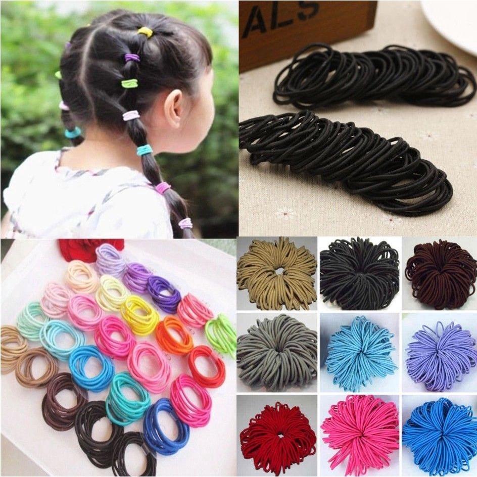 100 Quality Thick Snag Free Elastic Hair Bobbles Ponytail Bands Black Girls