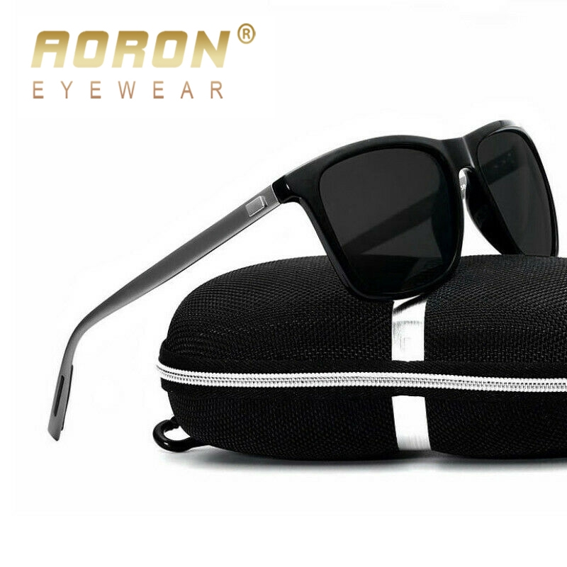 AORON Men Polarized Sunglasses Men Brand Design Sun Glasses  Aluminum Leg
