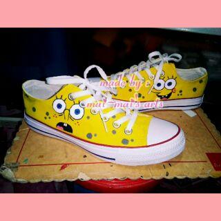 fe98216ee6f28 Hand-painted shoes, Spongebob black version | Shopee Philippines