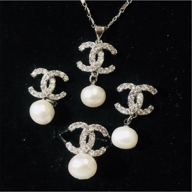 Chanel Inspired Freshwater Pearl Jewelry Set Necklace Ring