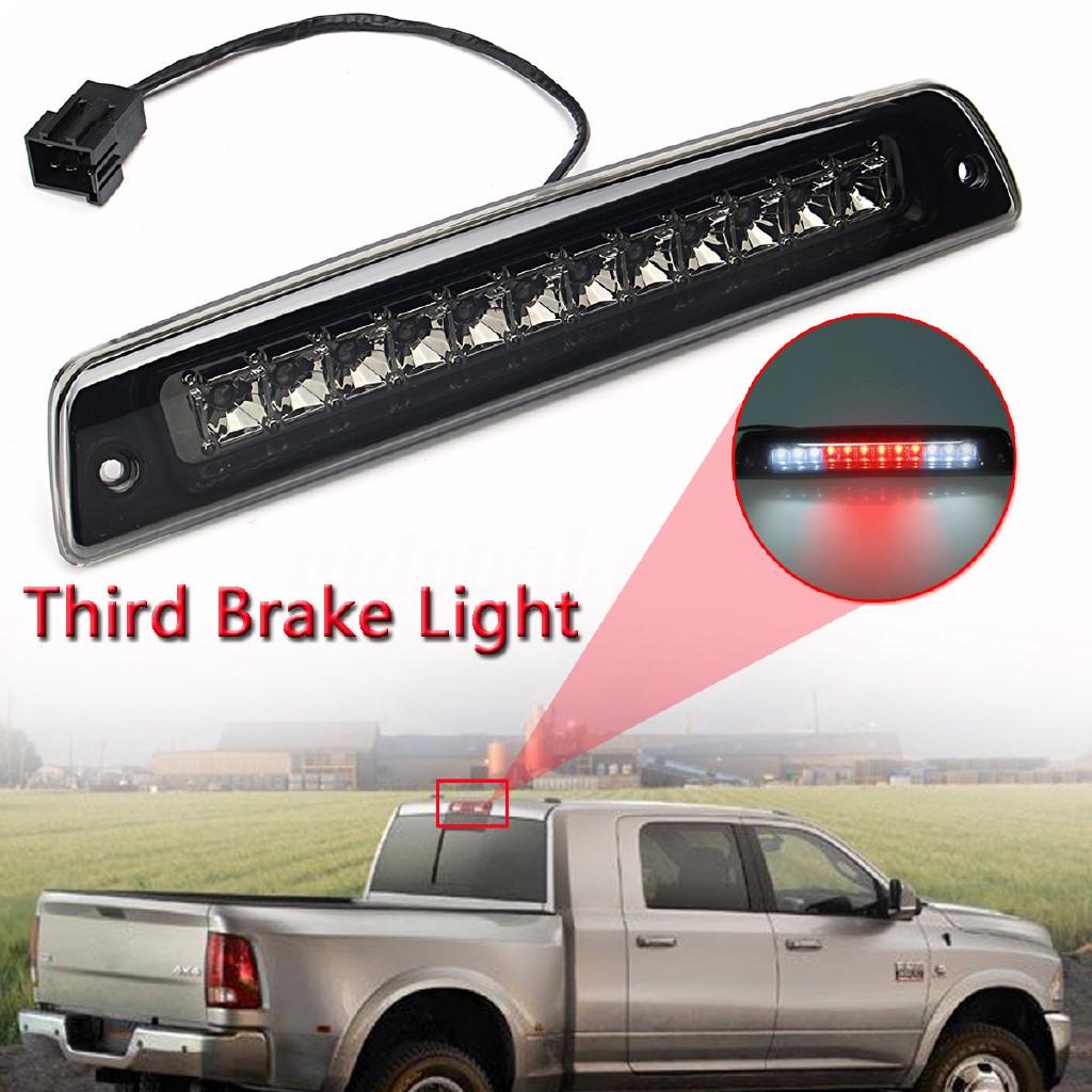 Third Brake Light LED 3rd Rear High Mount Tail Stop Cargo Lamp Compatible for 1994-2001 Dodge Ram 1500 2500 3500 Pickup Chrome+Smoke Lens