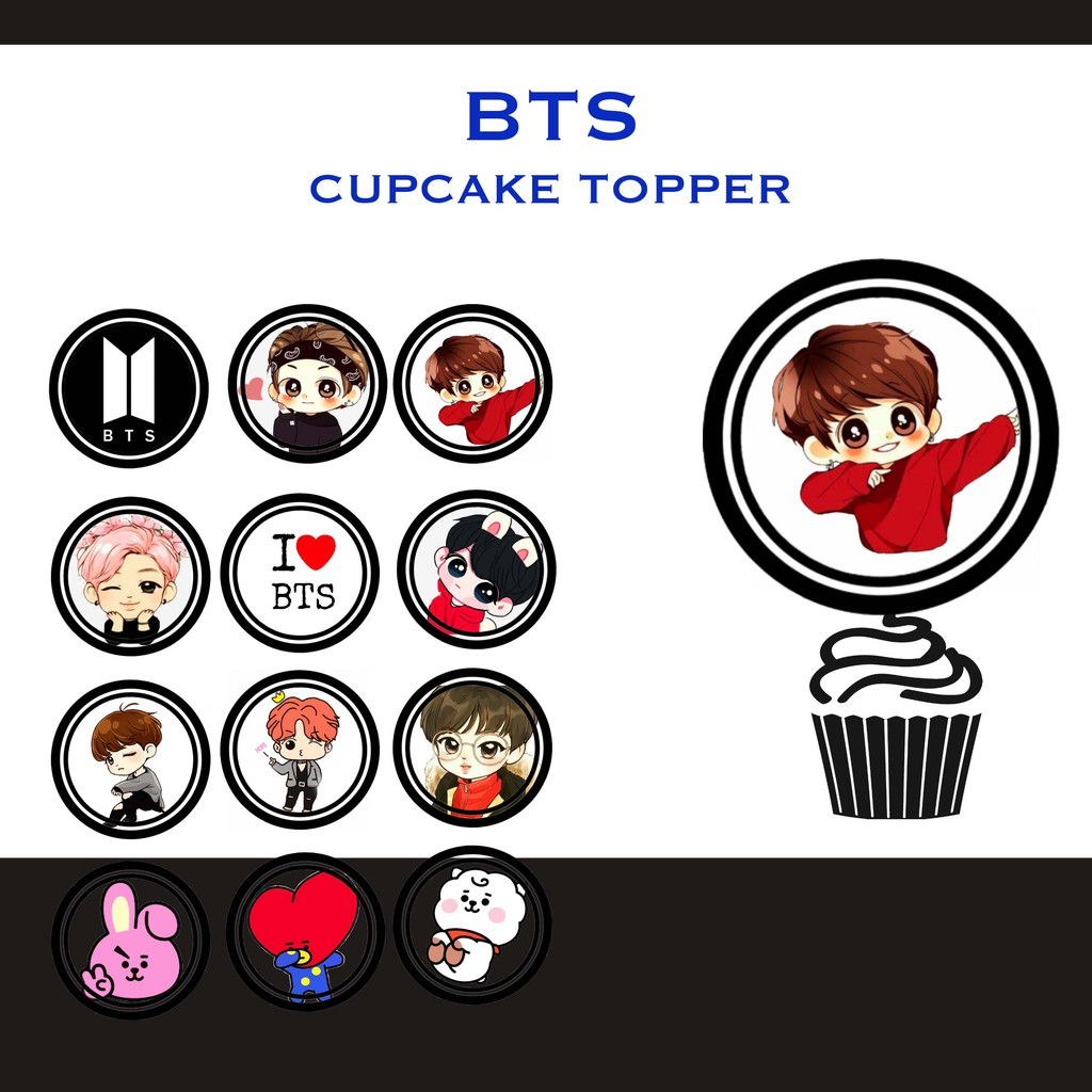 BTS Cupcake Topper (2 inch) 30 PCS   Shopee Philippines