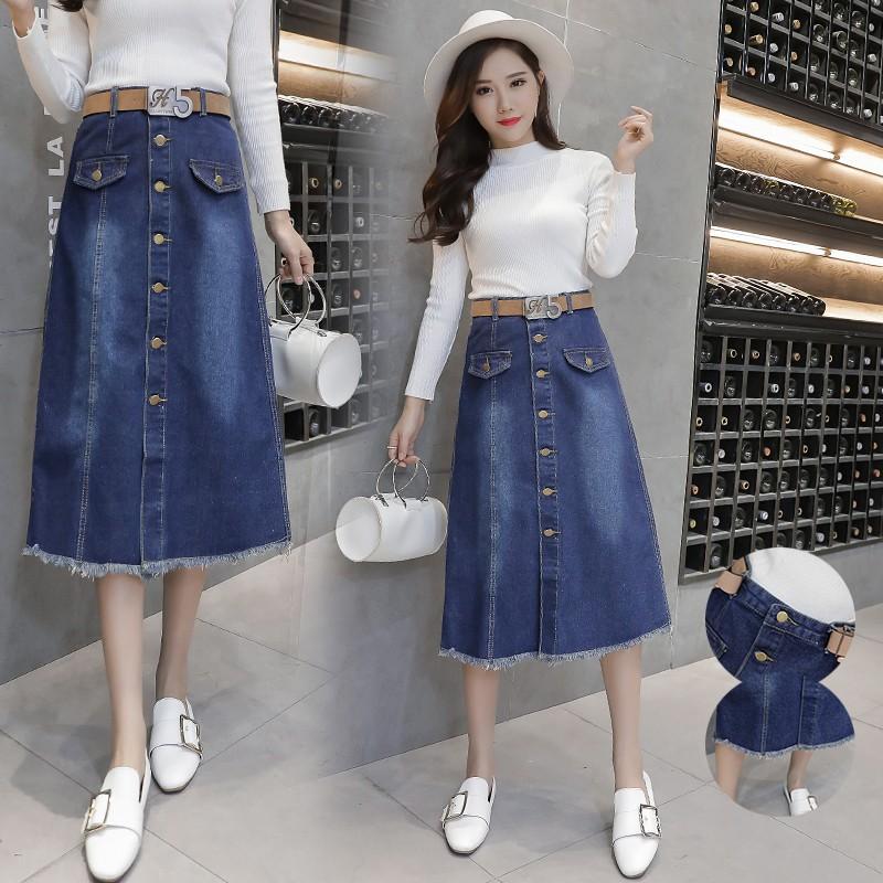 7b189a0cc7 ProductImage. ProductImage. Midi Skirts Fashion New Women High-waist Girls  Denim Skirts
