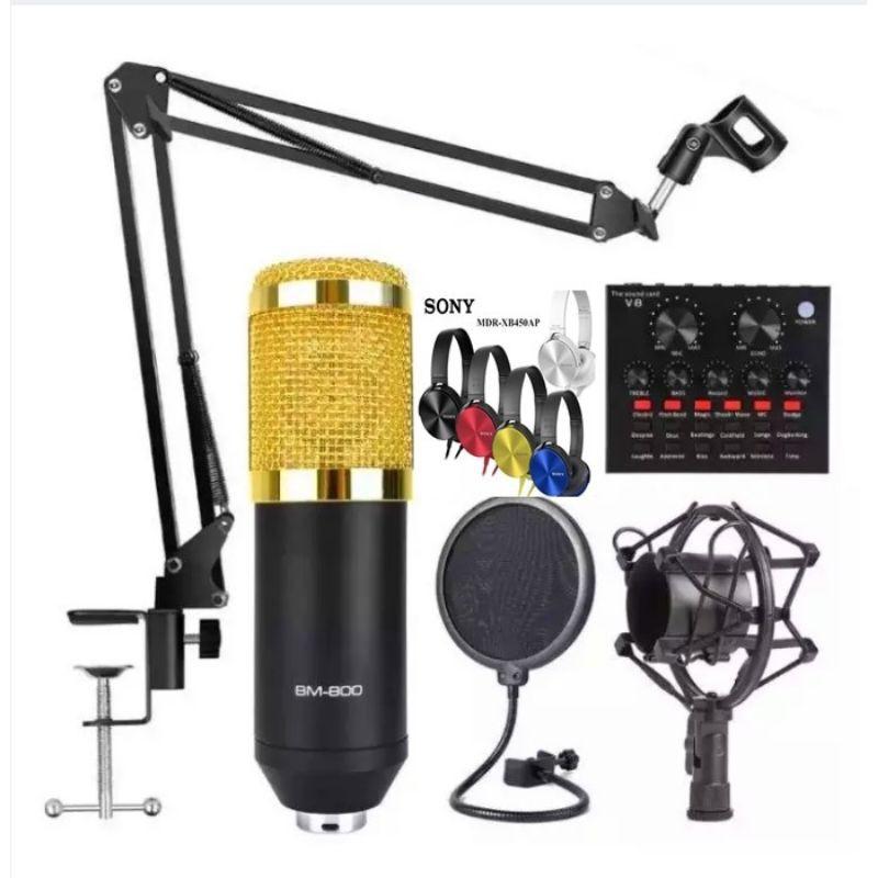Original BM-800 condenser microphone with v8 soundcard and free headphones