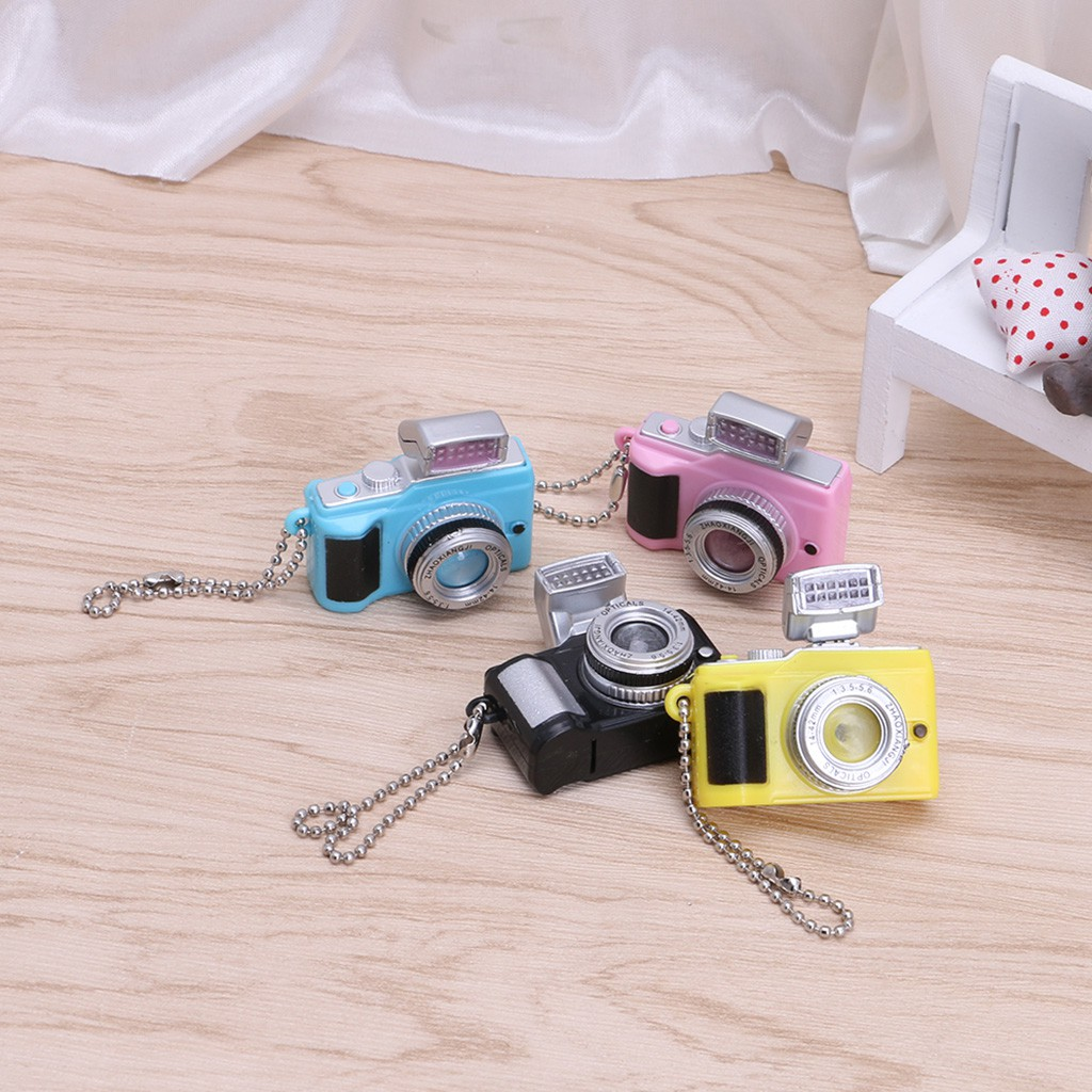 Mini Camera With Flash Light Lucky Cute Charm LED Luminous Keychains Toy Funny