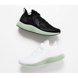 Adidas Alphaedge 4D Print Black and White Green Top Jogging Shoes EF3453 EF3454