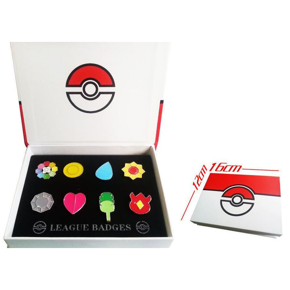 Total 5 sets Pokemon Gym Badges Gen League Complete Set of 8 Pins with Badge Box