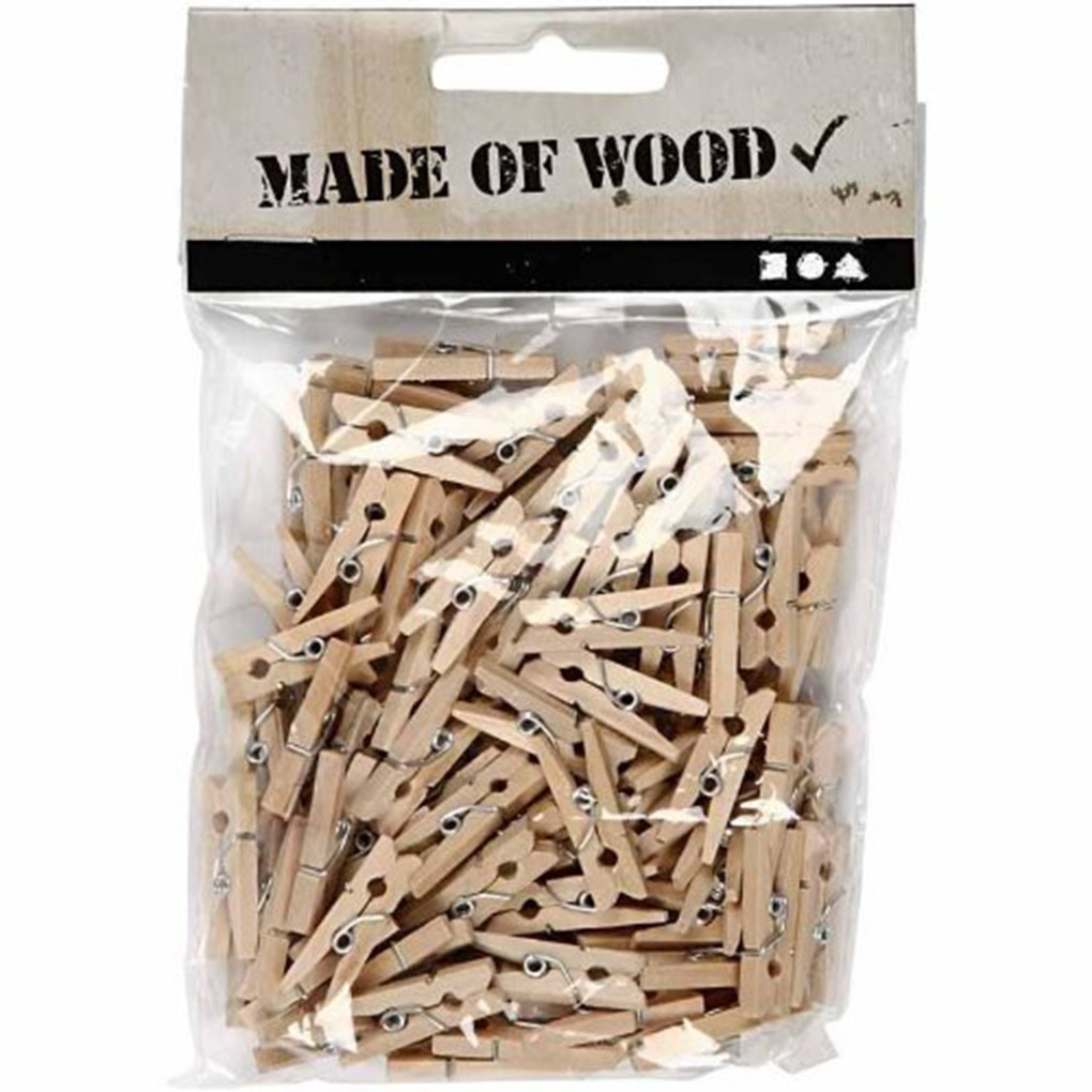 100pcs 25mm Mini Wooden Photo Paper Peg Clothespin Clothes Shopee
