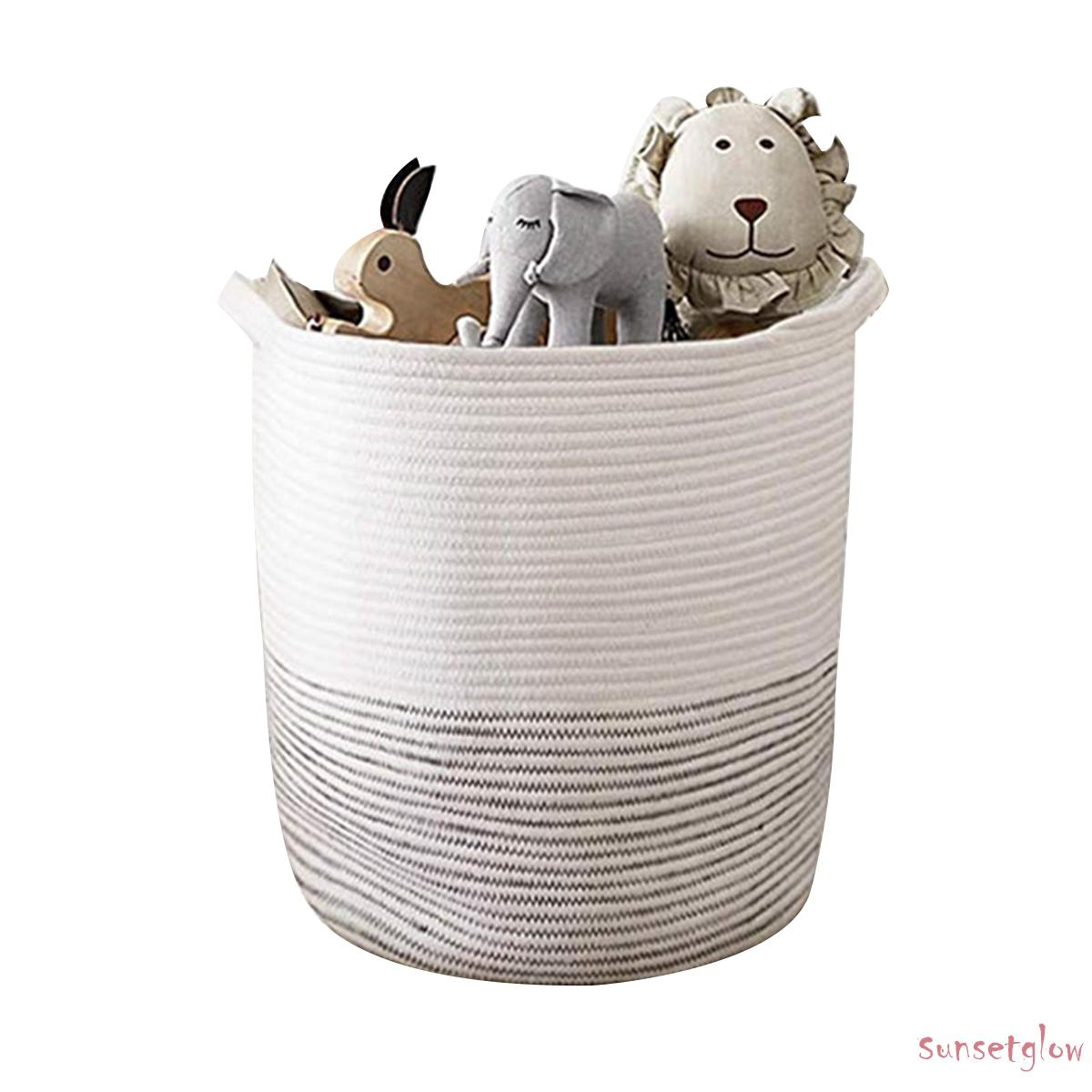Cotton Rope Basket Storage Basket With Handles Decorative Blanket Basket For Living Room Laundry And Nursery Decor Shopee Philippines