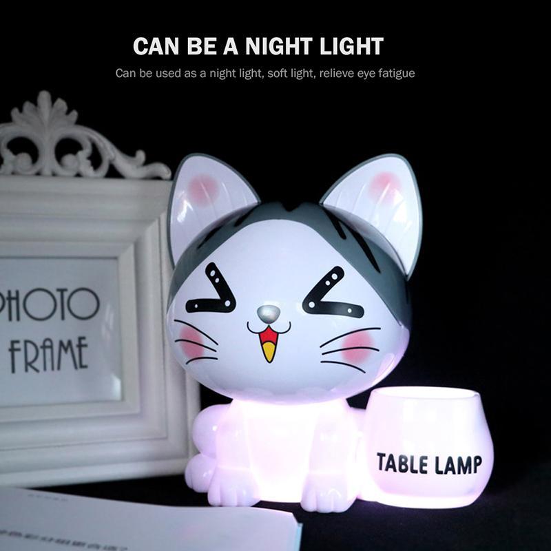Creative pen holder piggy bank USB charging night light