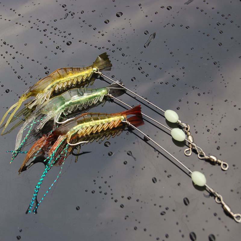Creative 3pcs Shrimp Style Soft Prawn Lure Hook Tackle Bait FUWE