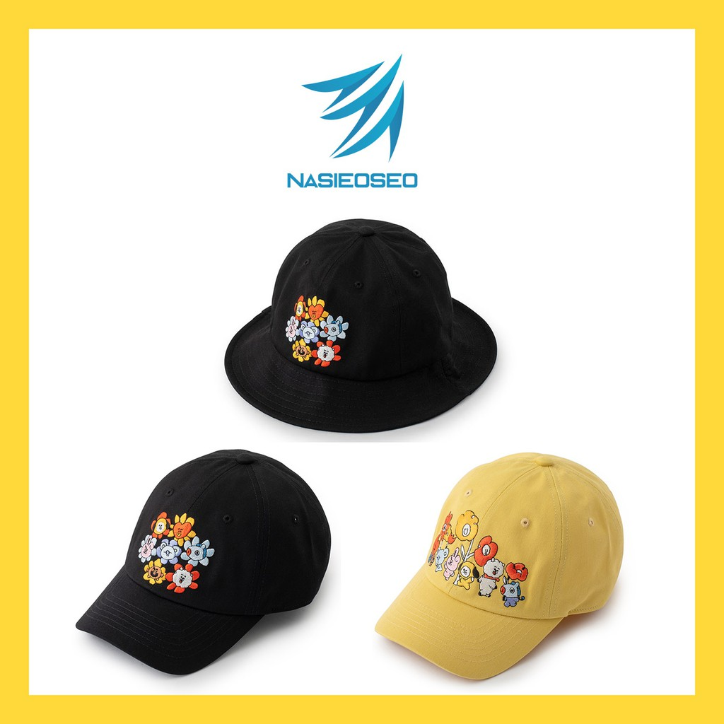 Bts Bt21 Official Authentic Product Flower Black Bucket Hat Ball Cap Shopee Philippines