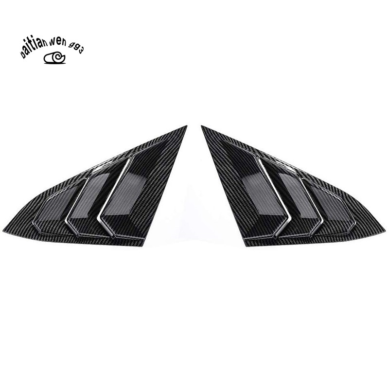 Pair Rear Side Window Scoop Louver Cover Trim Black for Honda Civic 2016-18
