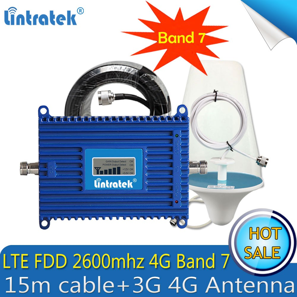 Lintratek 4G Repeater Gain 70dB Phone Signal Repeater 4G LTE 2600mhz  Booster Amplifier Full Set