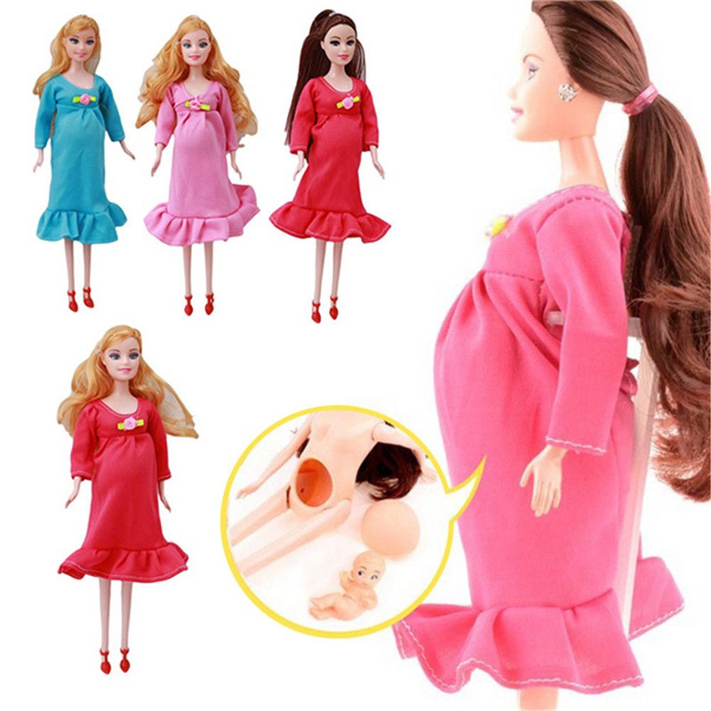 1Pcs Brown Hair Real Pregnant Mom Doll Baby Her Tummy Barbie Dolls Girls Toys