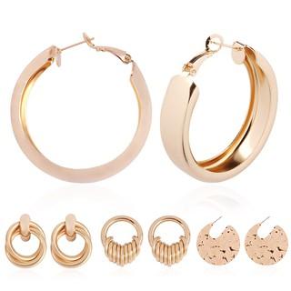 Fashion Earrings Women Multi Ring Winding Gold Stud