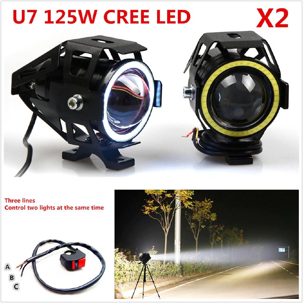 1pcs 125W U7 Angel Eyes Light Motorcycle Headlight LED Fog Spotlight+Switch