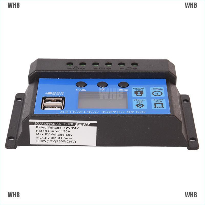 12V//24V Solar Panel Battery Regulator Charge Controller 30A PWM LCD PD