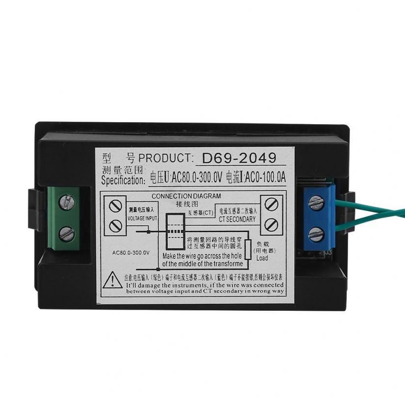 Ac 80 300v 100a Color Lcd Digital Voltmeter Ammeter Volt Amp Shopee Philippines