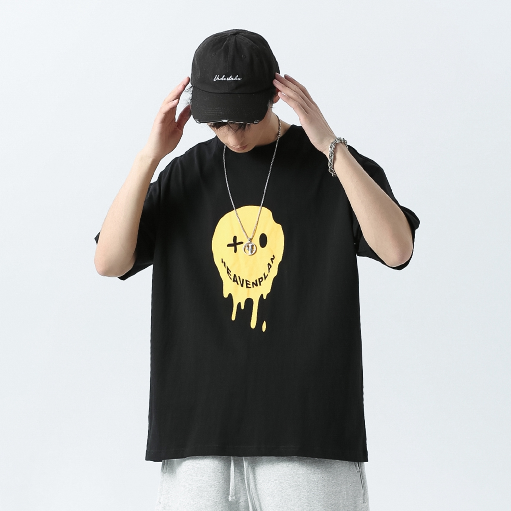 HVPN Cotton Men's Short-Sleeve T-shirt Trendy High Street Oversized Tee Hip Hop Loose European and American Fashion Graphic Korea style Smiley Printed Casual Tops Couple Unisex