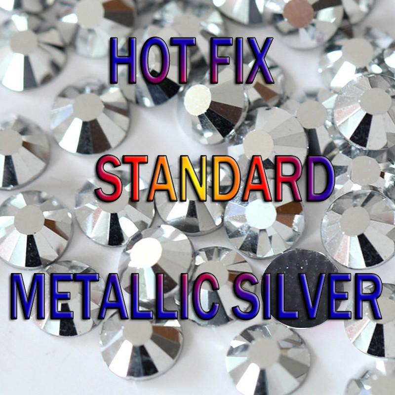 144pcs 2-6mm Gold Silver Iron On Hotfix Stud FlatBack Metallic Hot Fix