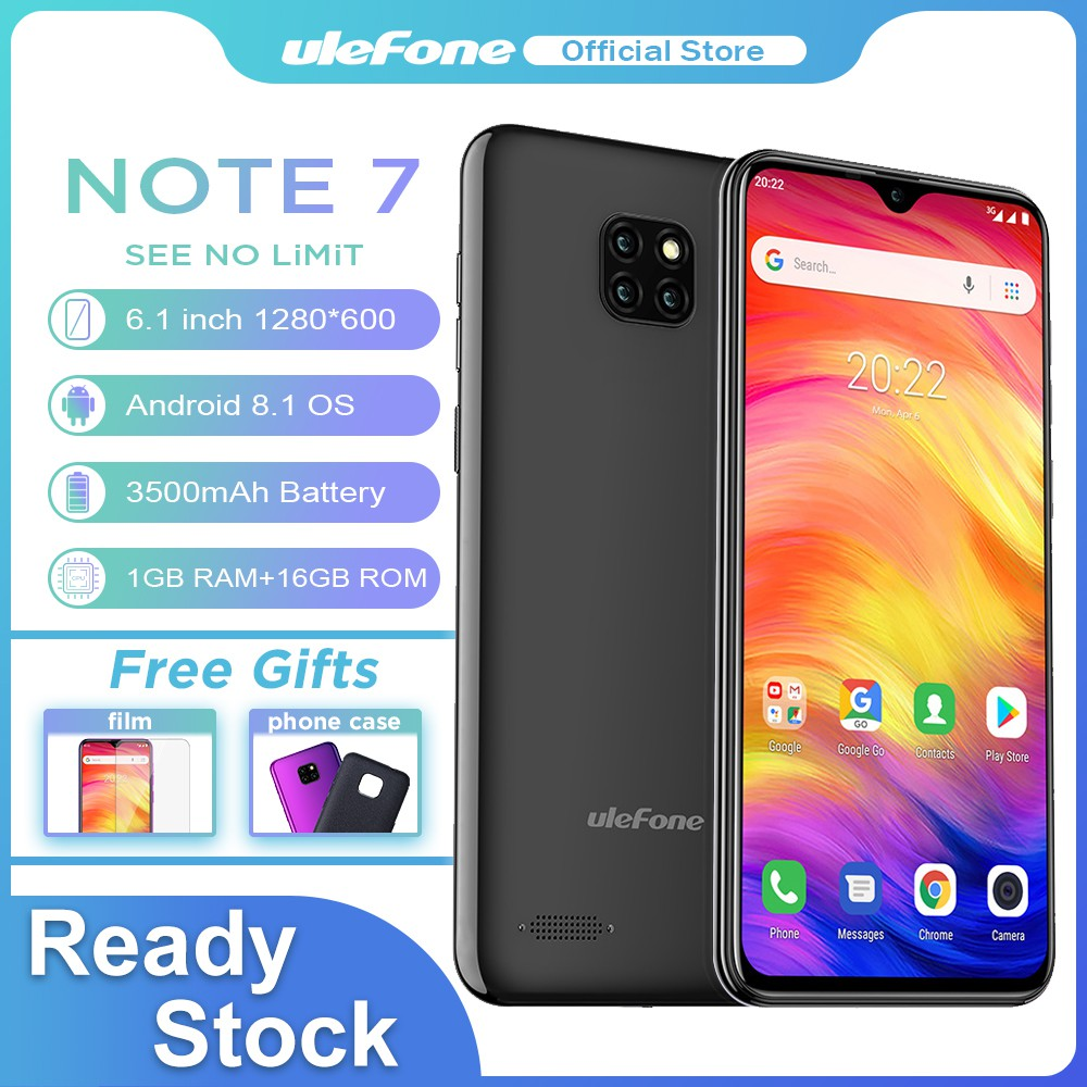 Ulefone Note 7 RAM 1GB/ROM 16GB Smartphone Android 8 1 Face ID 6 1 inch  3500mAh Mobile Phone