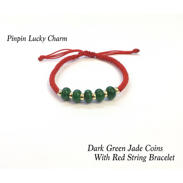 9a61ac4e17c688 DARK GREEN JADE COINS WITH RED STRING BRACELET | Shopee Philippines