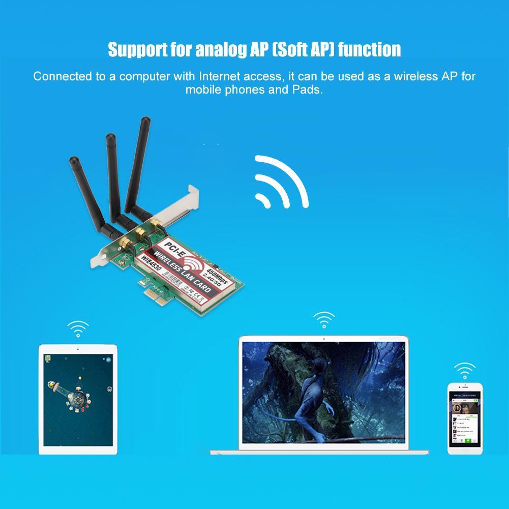 450Mbps 2.4G//5G WiFi Wireless LAN Card PCI-E X1 Network Adapter for Desktop PC