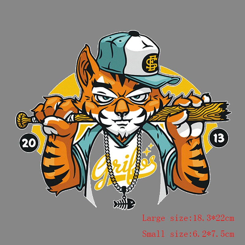 image regarding Printable Iron on Patches known as Hip hop tiger outfits patches warmth shift sticker printing