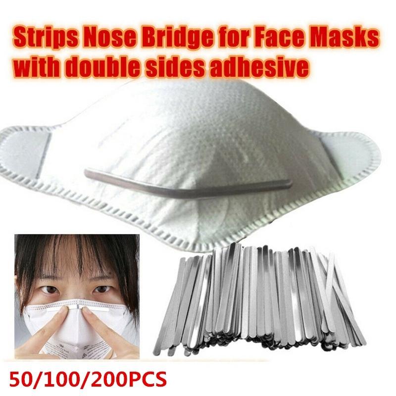 White, 100 Aluminum Strips Straps Nose Bridge Strip Flat Aluminum Wire for DIY Handmade Crafting Making Nose Bridge Clip